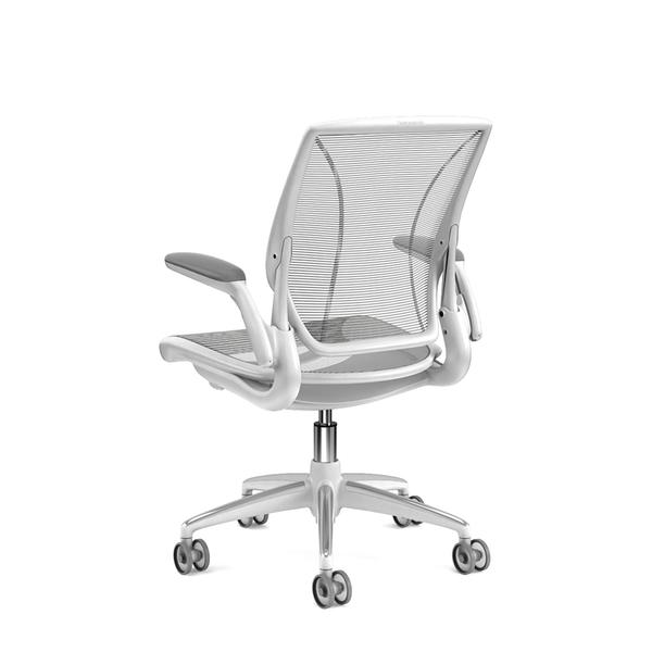 Pinstripe Mesh Silver World Task Chair Adjustable Arms White Frame Modern Office Furniture