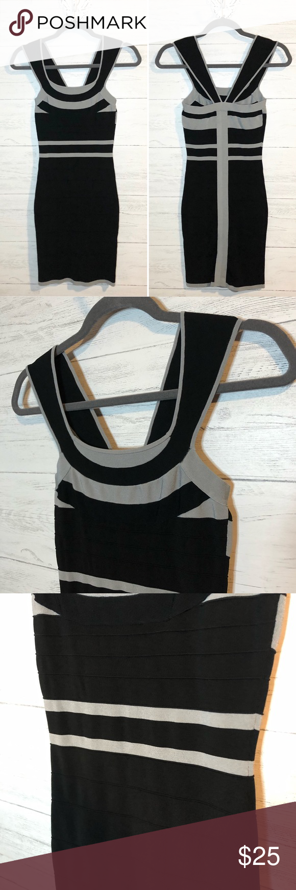 Bild von Express black & gray bodycon bandage dress Express black & gray s
