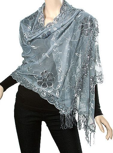silver sequin shawl formal evening floral style party wrap wraps Dressy Silver Shawls Wraps evening shawls silver grey light sheer elegance for women