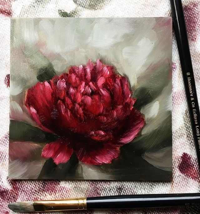Oil Painting Of A Peonies 5x5 Oil On Gesso Board K Khrysty Fine