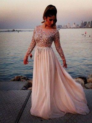 Lange Armel A Linie Princess Stil Bateau Kragen Perlenstickerei Bodenlang Chiffon Kleider Abendkleid Abiball Kleider Abschlussballkleid