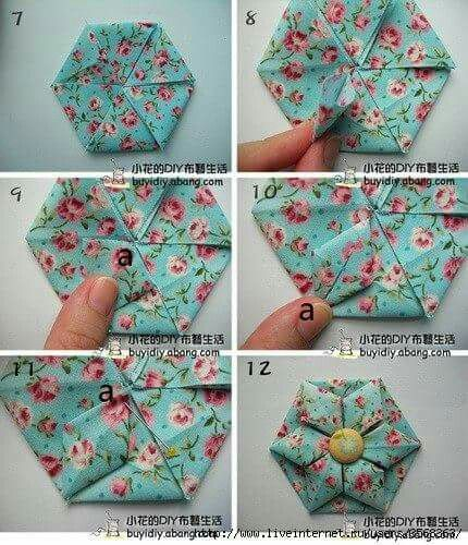 Passo a passo quilts pinterest origami patchwork and fabric origami tutoriai flower 2 more mightylinksfo