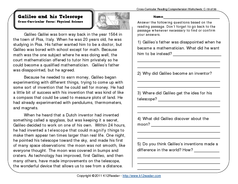 Cc 3rd Grade Reading Comprehension Worksheets: Reading Comprehension Worksheets   Third Grade   Galileo   Science    ,