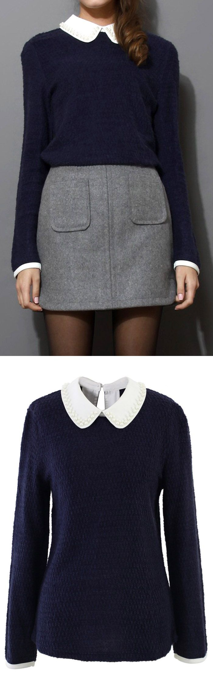7bf55abd6db53 Pearly Peter Pan Collar Top in Navy Blue