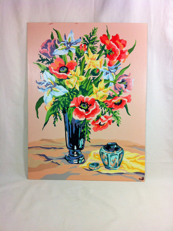 Vintage Paint by Number Flowers 18 x 24