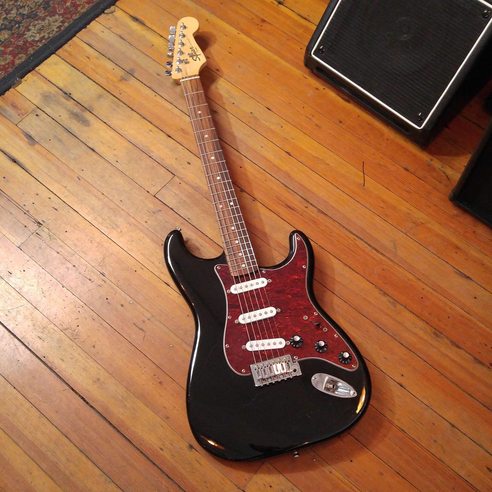 Squier Stratocaster Frontman Custom Black Squier Used Guitars Guitar
