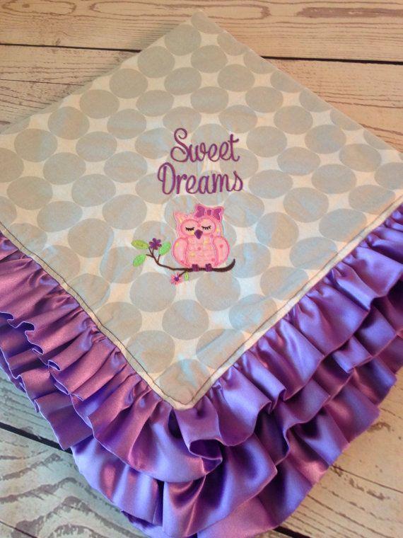 Handmade Baby Blanket with Owl Monogram & by DarlenesNeedlesnPins