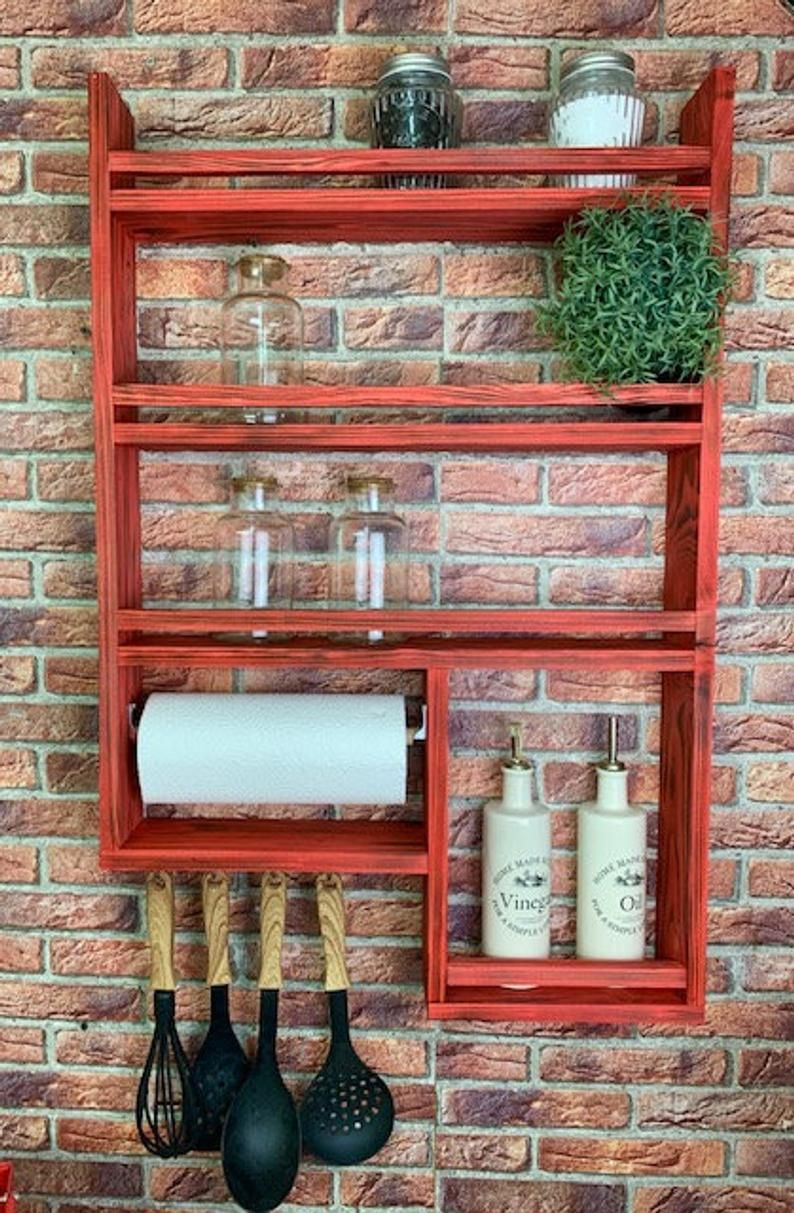 Spice Rack 4 Made Of Wood Rak Dapur Rak Dapur