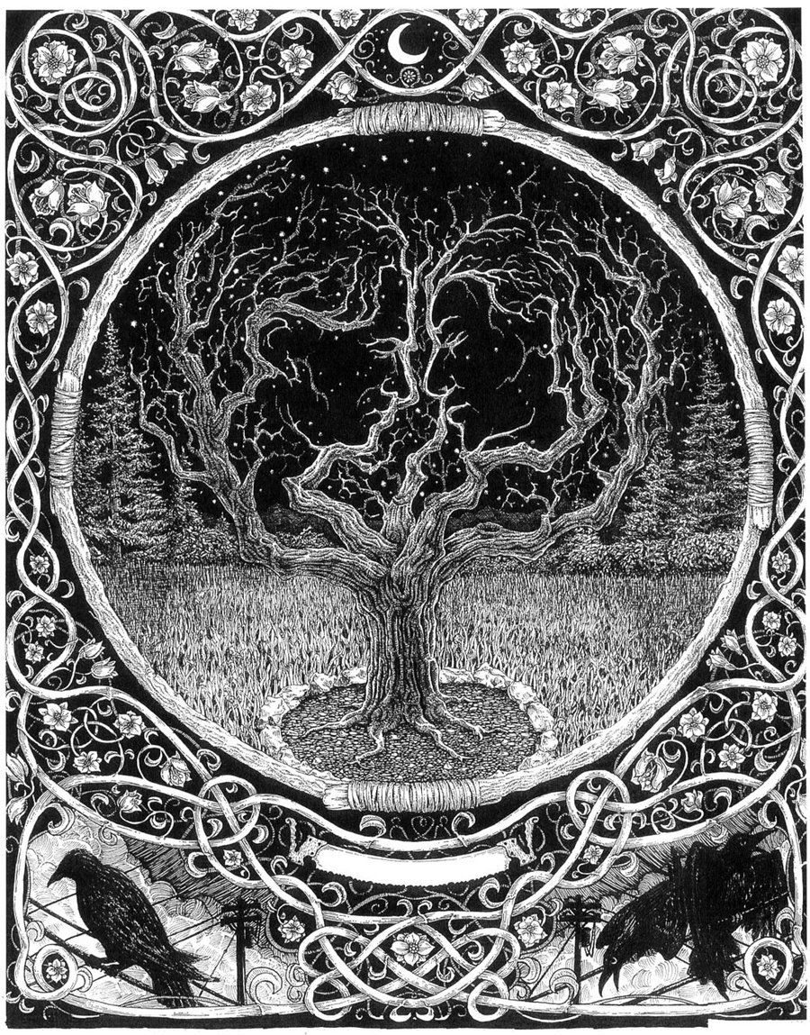 Yggdrasil (the tree of life), and Odin's ravens Huginn (memory) and Muninn (thought).