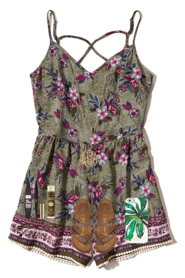 """""""This romper gives me life. 😍💖"""" by one-of-those-nights ❤ liked on Polyvore featuring Hollister Co., Ginette NY, Ray-Ban, Maybelline, Sun Bum, Kate Spade and Birkenstock"""
