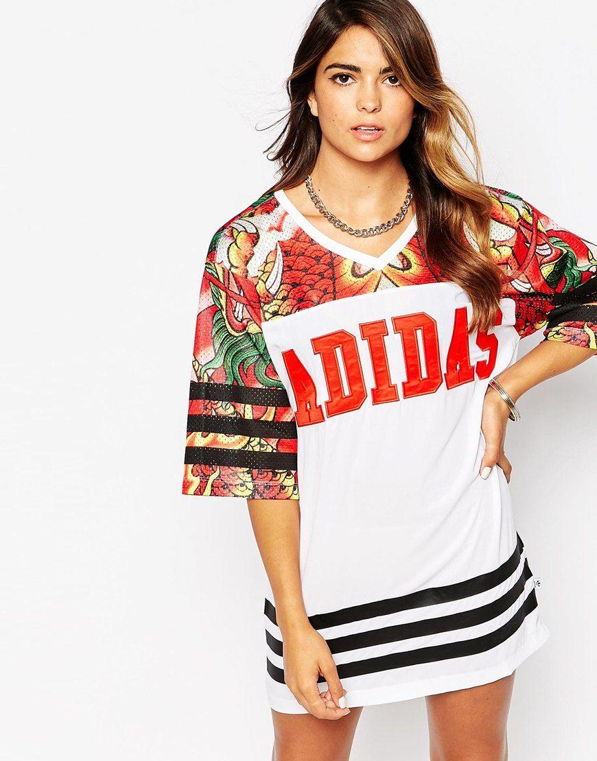 Adidas Rita Ora Dragon Print T Shirt Dress At Asos Com T Shirt Kleid [ 1110 x 870 Pixel ]