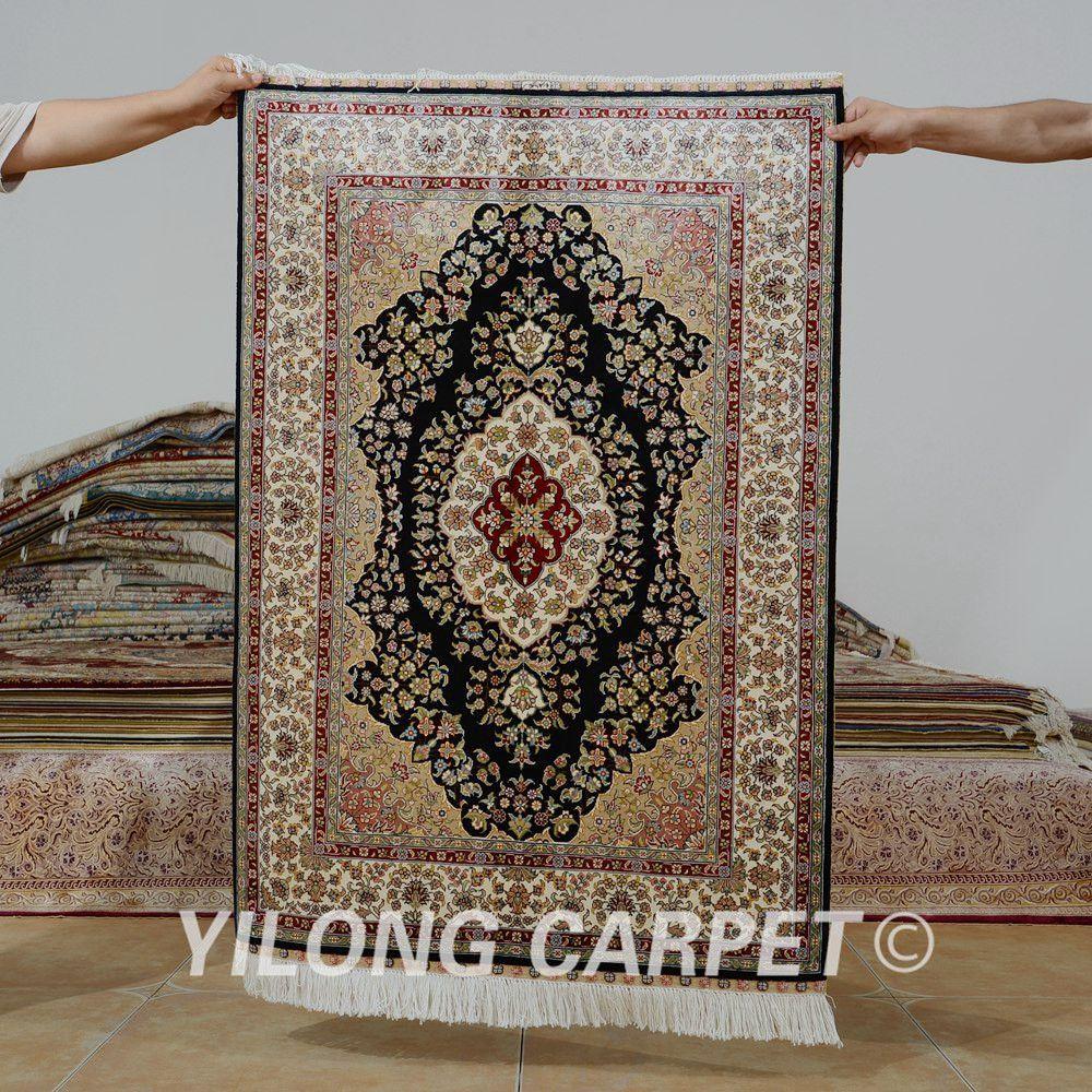 Yilong 2 7 X4 Persian Silk Carpet Black Vantage Exquisite Traditional Handmade Tabriz Rug