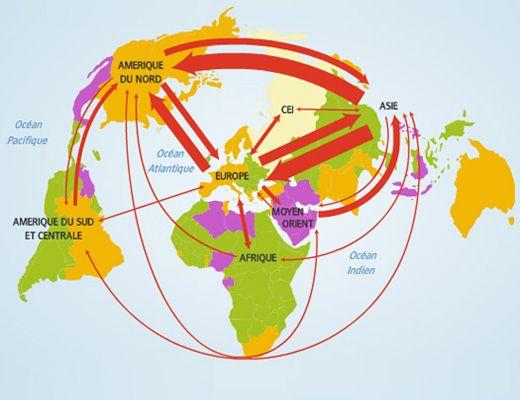 Les Principaux Flux Commerciaux Dans Le Monde Geographie Carte
