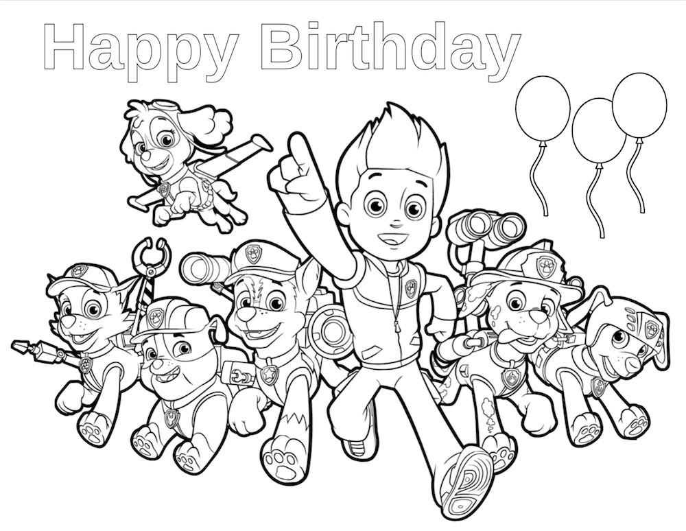 Paw Patrol Birthday - Happy Birthday Coloring Page