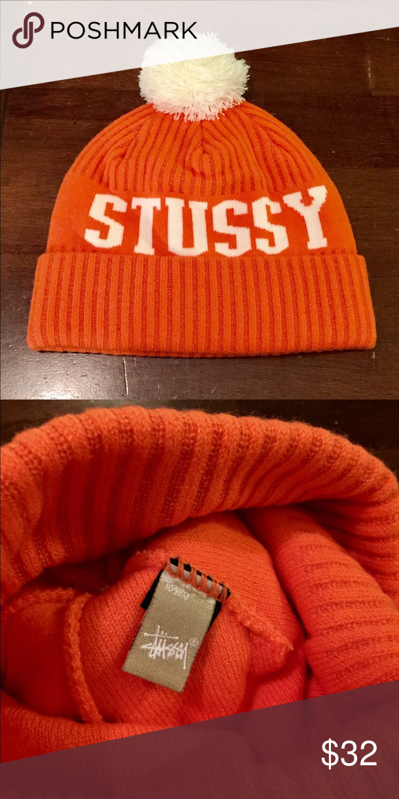 New STUSSY Orange White Pom Beanie Knit Hat Cap New STUSSY Orange white Pom Beanie  Knit Hat Cap New without Tags! Stussy Accessories Hats 8fdce8e4994f