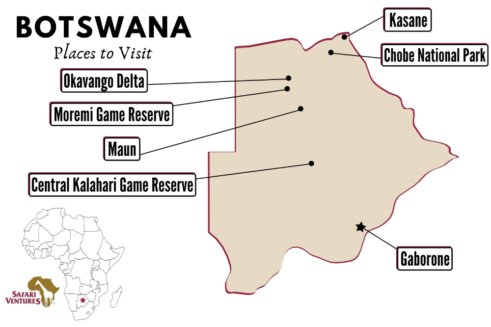 Map Of Places To Visit In Botswana Map Botswanamap Places To