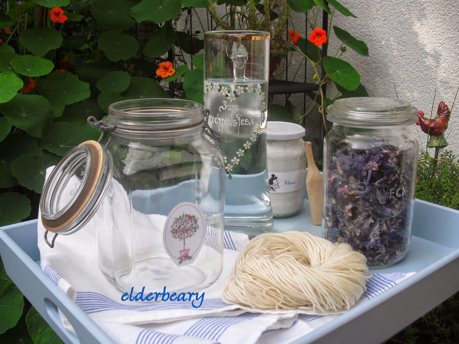 Solar dyeing with columbine flowers (Aquilegia vulgaris)