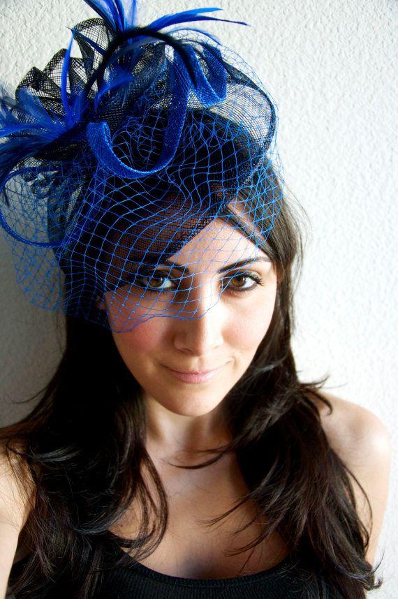 Royal Blue Fascinator - Royal Blue   Navy Fascinator Hat Headband w Ribbon  waves a blue birdcage veil 89c72cd090e