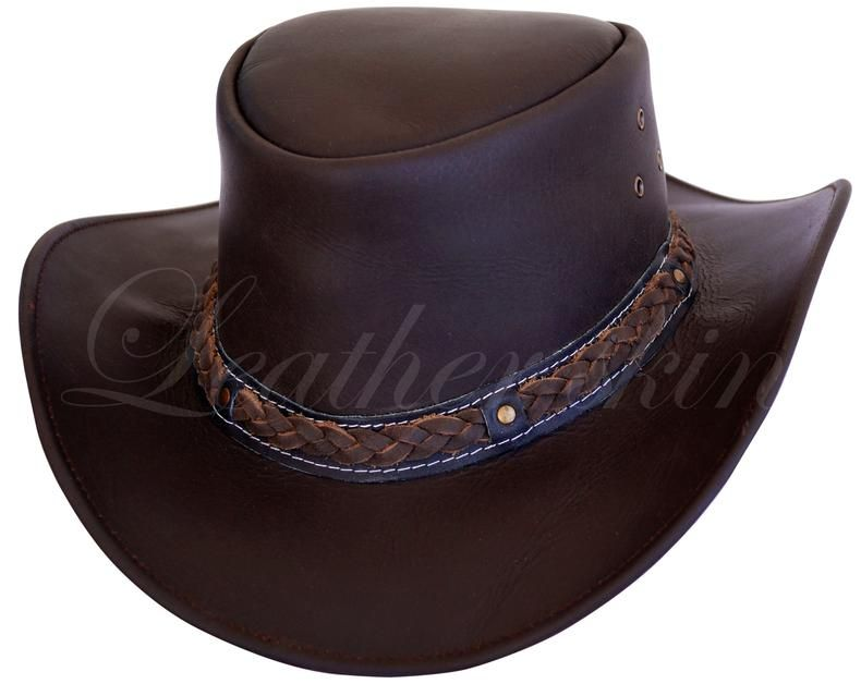 b4a45f52e1bc8b Men Handmade Dark Brown Hat Aussie Bush Cowboy Western Outback Leather Hat