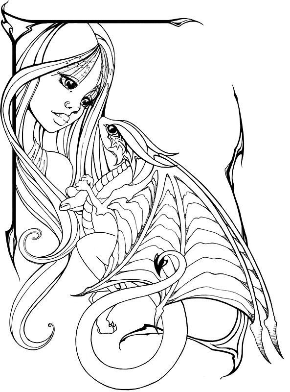 Girl And Dragon Sticker By Bittybiteyones Dragon Coloring Page