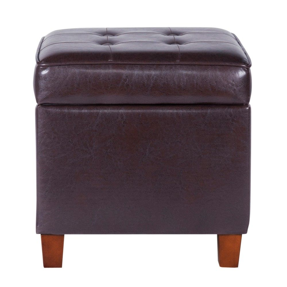 Square Tufted Faux Leather Storage Ottoman Brown Homepop With
