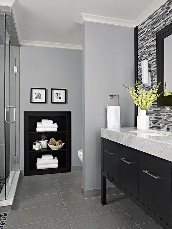 Decorating idea black backed built-ins Black, Bath and House