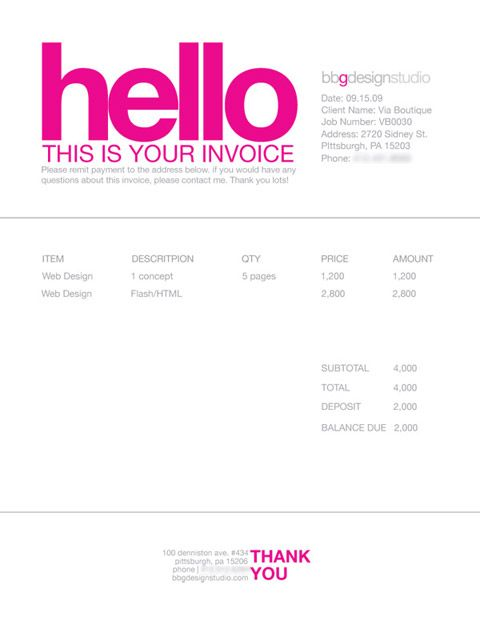 invoice template freelance designer  Invoice Like A Pro: Design Examples and Best Practices | Business ...