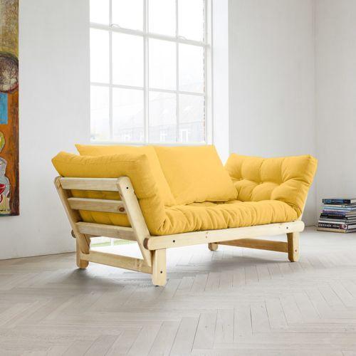 Canape convertible en bois avec matelas futon beat salon for Tapis jaune avec canape avec assise modulable