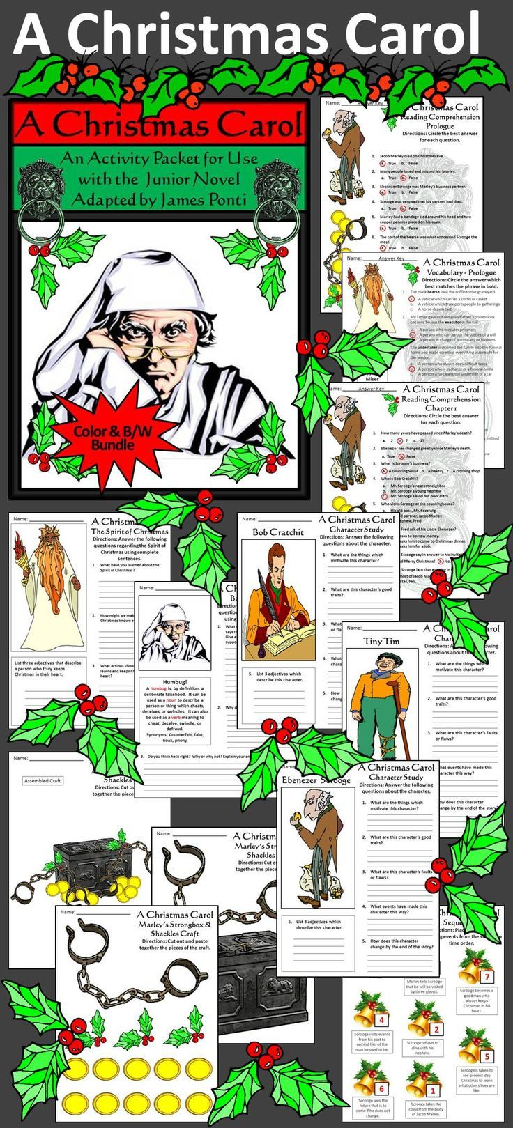 worksheet A Christmas Carol Worksheets christmas carol activity packet writing sequencing a complements the book junior novel adapted by james ponti based on charles d