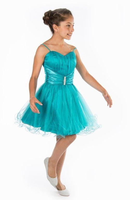 Vestidos azul turquesa cortos para nina