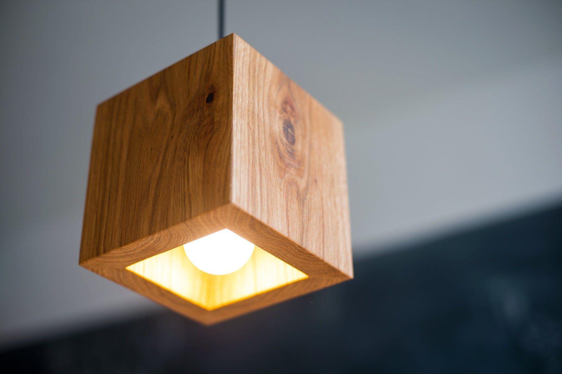 Pendant Light Q 339 Handmade Natural Oak Wooden Ceiling Lamp