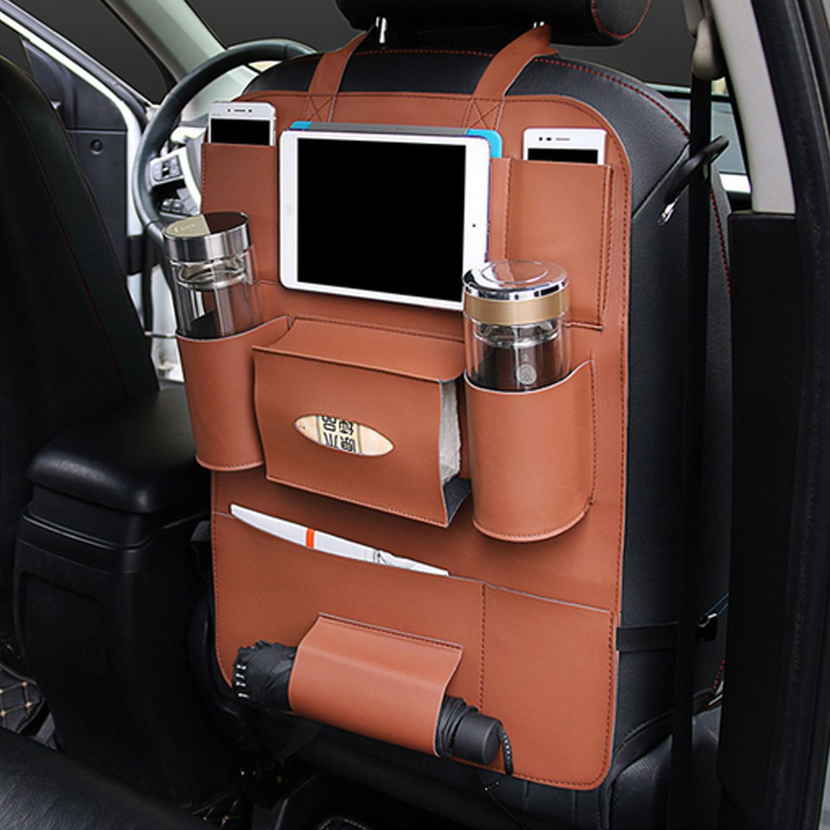 Car Seat Back Bag Organizer Multi-Pocket Storage iPad Phone Holder Leather Hot