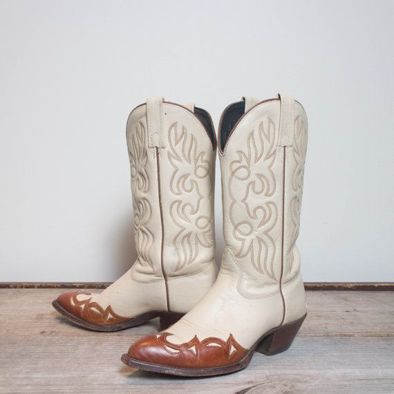 f9ad35eef26 7 M J. Chisholm Outlay Wingtip Cream & Brown Western Cowboy | my ...
