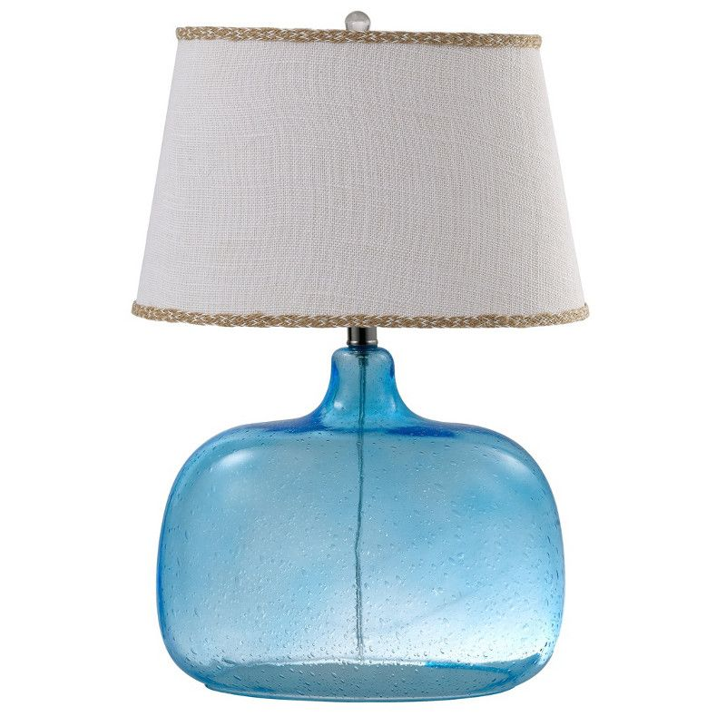 blue glass table lamps bing   Ocean Blue Glass Table Lamp