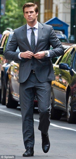 4cb62904275 Suits you sir  Liam Hemsworth looks extremely dapper as he films new ...