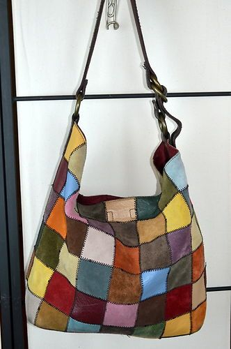 Lucky Brand Huge Tote Per Purse Suede Leather Patchwork Colorful Xlarge Bag Ebay