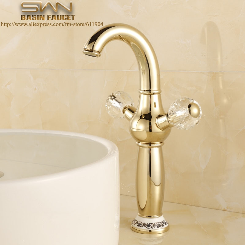 68.60$ Buy now - Gold Color Tall Bathroom Tap Lavatory Vessel Sink ...