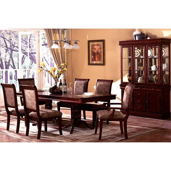 7 piece dinette set arm chairs furniture of america ravena oak 7piece cherry dinette set