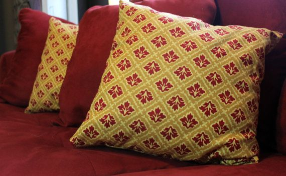 Yellow And Red Brocade Throw Pillow By Trueimage On Etsy 2000