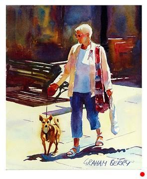 "Walking with dog by Graham Berry Watercolor ~ 12"" x 10"""