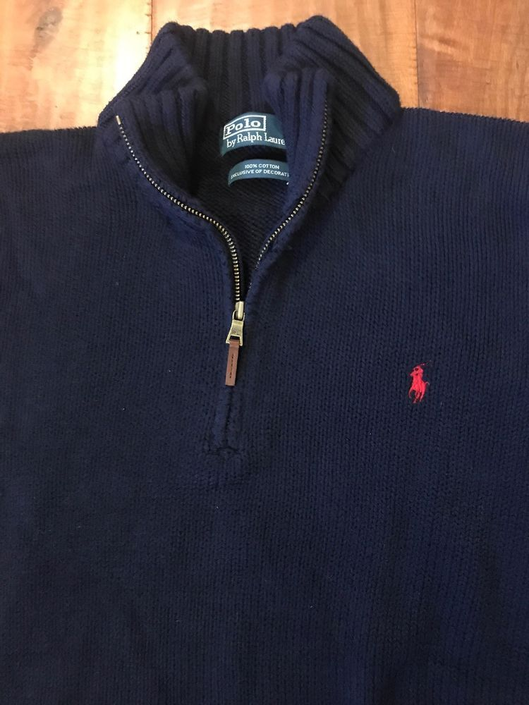 ed7b4f4a2 POLO RALPH LAUREN MENS L Navy Blue 1 4 ZIP 100% COTTON PULLOVER SWEATER   fashion  clothing  shoes  accessories  mensclothing  sweaters (ebay link)