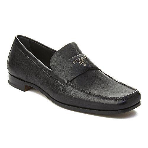 5e501e3d7a6 Prada Men s Leather Logo Penny Loafer Shoes Black Prada Prada Women s Suede  Bow Strap High Heel