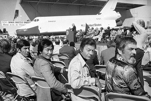 Leonard Nimoy, George Takei, DeForest Kelley  and James Doohan attending the first space shuttle showing