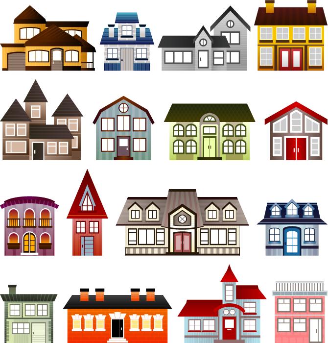 フリーイラスト 16種類の家のセットでアハ体験 Gahag 著作権