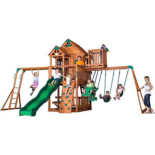 Backyard Discovery Skyfort Ii All Cedar Wood Swing Playset Backyard