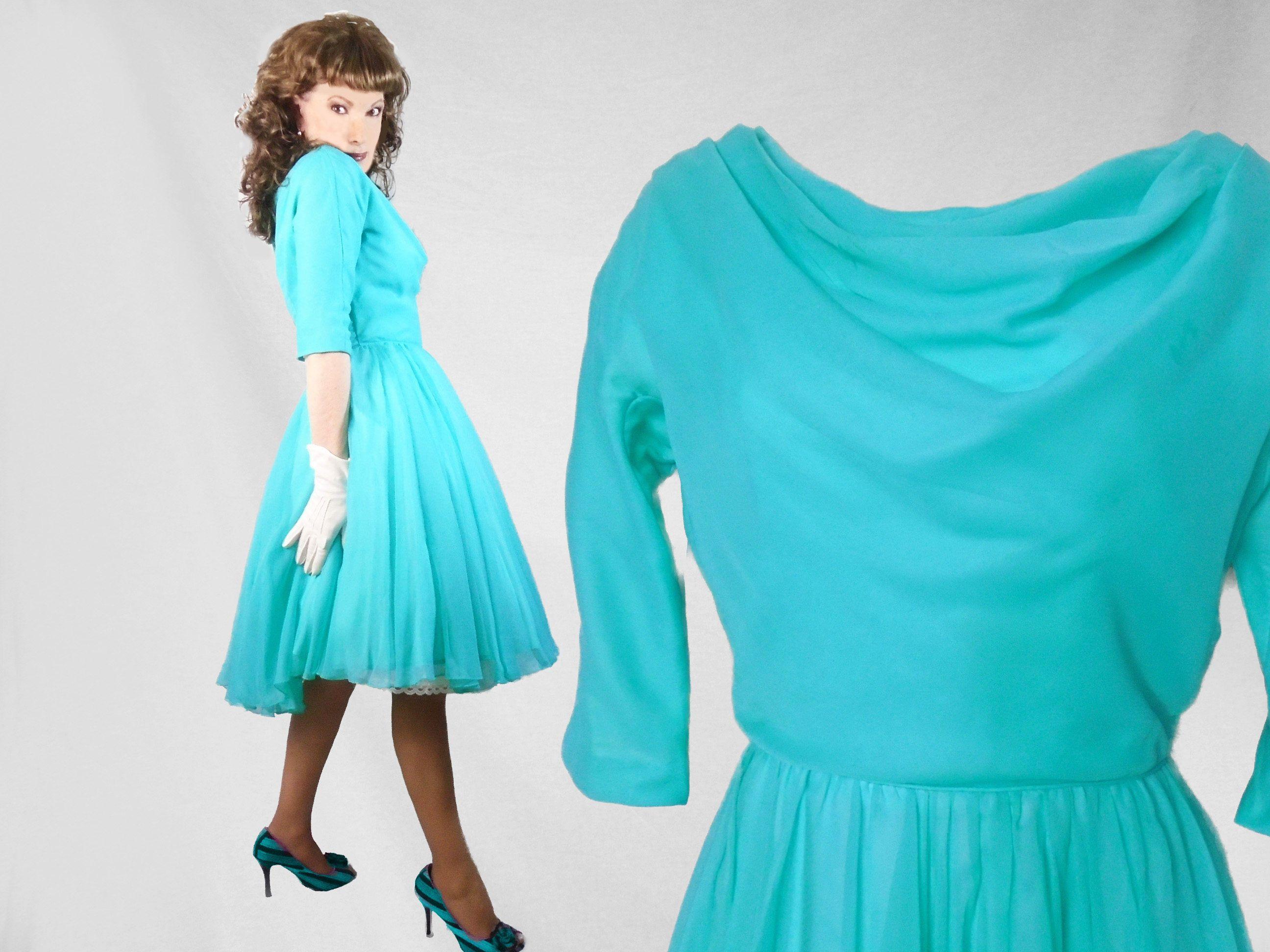 Vintage Chiffon Party Dress, Womens 50s Cupcake Dress, 1950s Chiffon ...