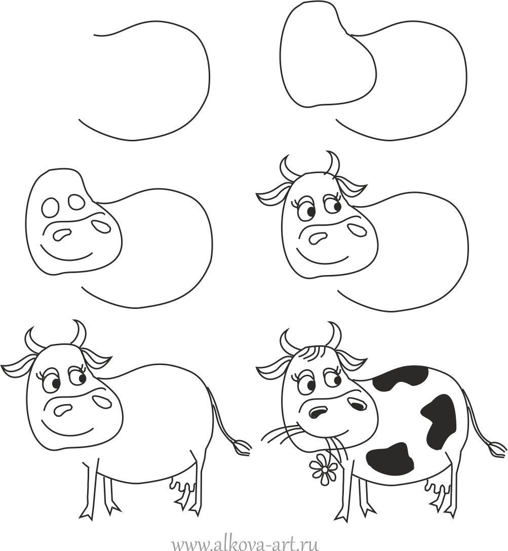 Как нарисовать корову ребенку? How to draw a cartoon cow