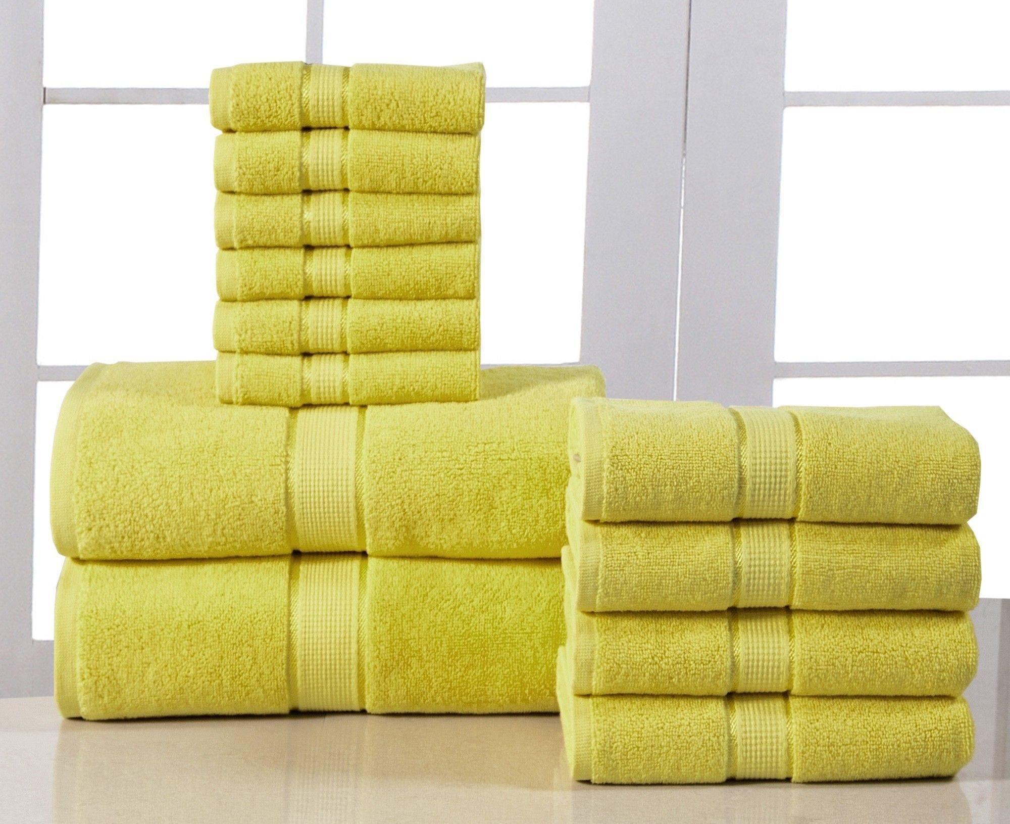 Elegance Spa 600 GSM Egyptian Quality Cotton 12 Piece Towel Set Yellow Hand  Towels e3bb511b4