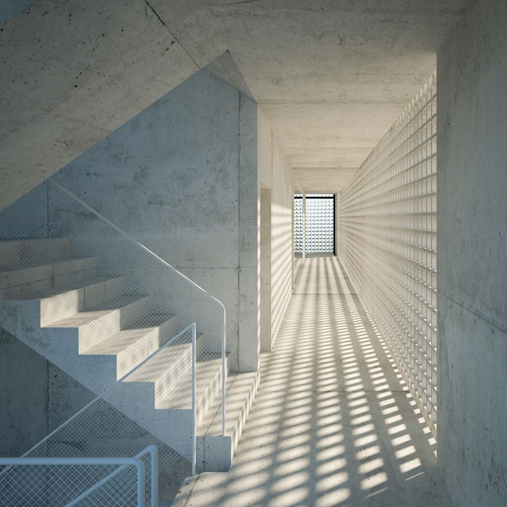 Licht Im Treppenhaus mooi licht en schaduwspel in een anders héél strakke en kille ruimte