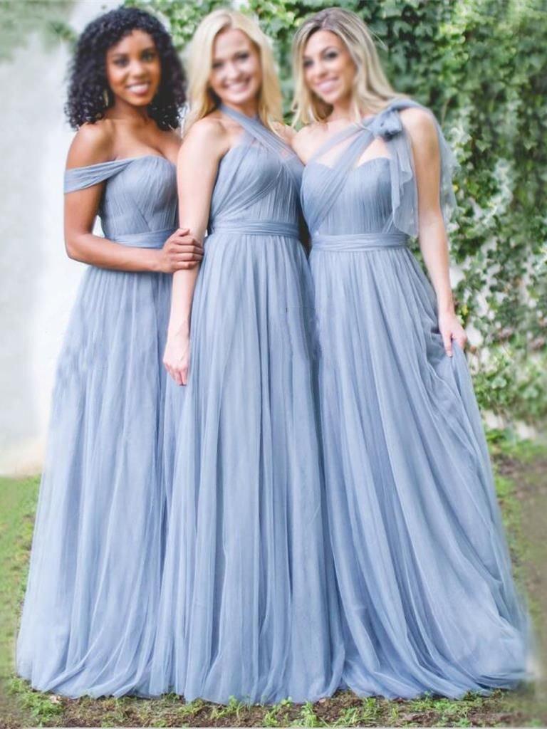 Long A Line Dusty Blue Cheap Mismatched Bridesmaid Dresses Online ...